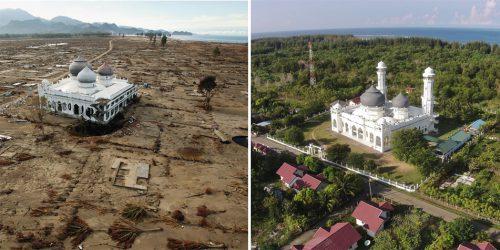 Abb. 3.26: 2004 zerstörte der Tsunami weite Teile der indonesischen Provinz Aceh, ließ aber die Moschee Masjid Rahmatullah in der Stadt Lampuuk fast unbeschädigt (Foto rechts). Auf dem Bild daneben ist der wiederhergestellte Küstenstreifen mit dem Mast (Foto ganz rechts) eines neuen Tsunami- warnsystems zu sehen., l. © Sasse/laif,<br> r. © Chaideer Mahyuddin/AFP
