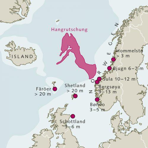 App. 3.28: Vor 8200 Jahren ereignete sich vor Westnorwegen eine der größten heute bekannten Hangrutschungen. Damals glitt ein großer Teil der norwegischen Schelfkante ab und schob sich mehrere Hundert Kilometer weit in den Atlantik. © nach Bondevik et al.