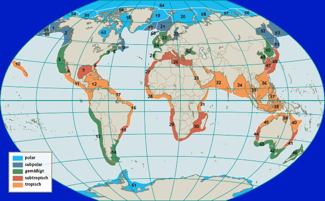 Abb. 4.10: Die küstennahen Meeresgebiete der Welt wurden in 66große, länderübergreifende Meeresökosysteme eingeteilt, die sogenannten Large Marine  Ecosystems (LMEs). Von diesem Konzept erhofft man sich eine bessere Zusammenarbeit der Nationen beim internationalen Meeresschutz. © National Oceanic and Atmospheric Administration (NOAA)