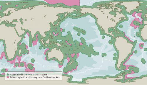 Abb. 4.1: Küstenstaaten haben in ihrer Ausschließlichen Wirtschaftszone (AWZ) das exklusive Recht, Meeresressourcen wie etwa Fische auszubeuten. Unter bestimmten Voraussetzungen können sie ihre AWZ sogar noch um einen Teil des Festlandsockels erweitern. © nach GRID-Arendal