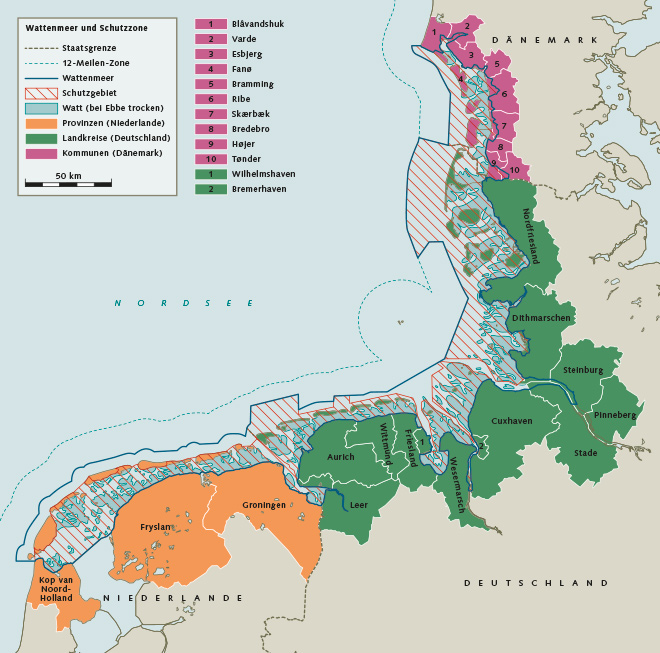 Abb. 4.9:  Obwohl das Wattenmeer in seiner Gesamtheit Weltnaturerbe ist, sind die Zuständigkeiten für diesen Lebensraum auf mehrere Länder verteilt.  Das Gebiet erstreckt sich über drei Nationen und wird in den Staaten durch verschiedene regionale Behörden verwaltet. © nach Gemeinsames Wattenmeersekretariat (CWSS), 2004