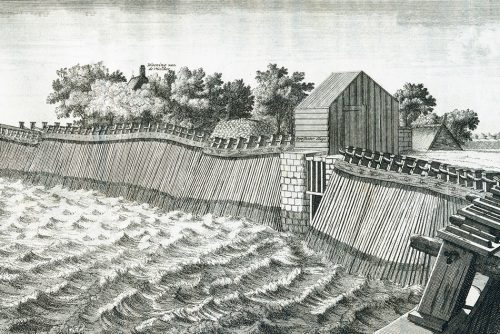 "fig. 4.16: For several centuries the people in the Netherlands relied on ""stack dikes"" (Ger. – Stackdeiche) to protect the region around Amsterdam, as shown in this illustration of the Zuiderzee in 1702. These were repeatedly damaged during heavy storm surges. © Archive of the Regional Public Water Authority Amstel, Gooi and Vecht, Amsterdam"